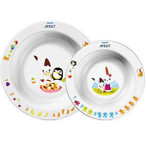 Avent Sæt af 2 tallerkener til småbørn 6m+