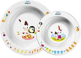 Weißes 2-Schalen-Set für Kinder ab 6Monaten