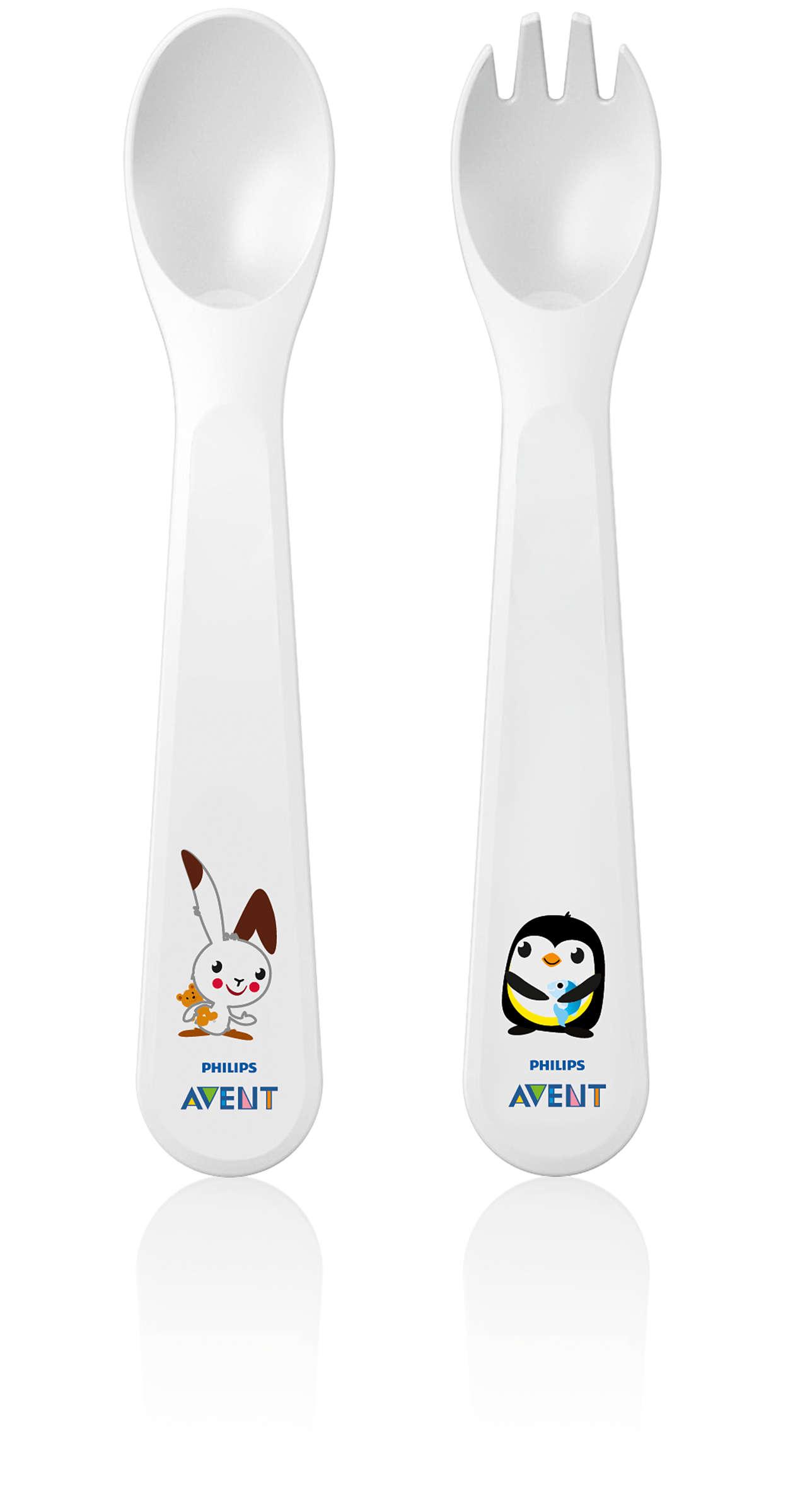 Primera cuchara y tenedor para el bebé