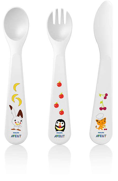Bağımsız yeme için çocuk çatal-bıçak takımı
