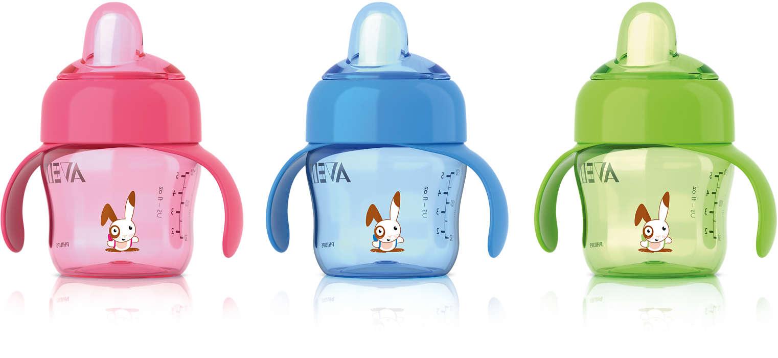 Para fácil transición del biberón al vaso