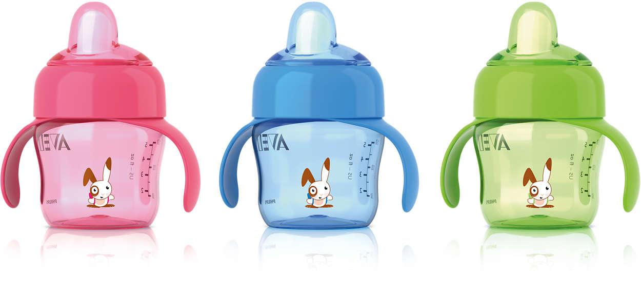 Fácil transição da mamadeira para o copo