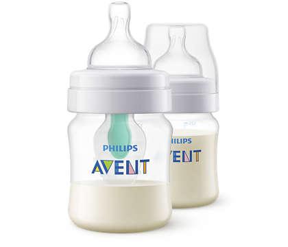 Ein Sauger gefüllt mit Milch, nicht mit Luft