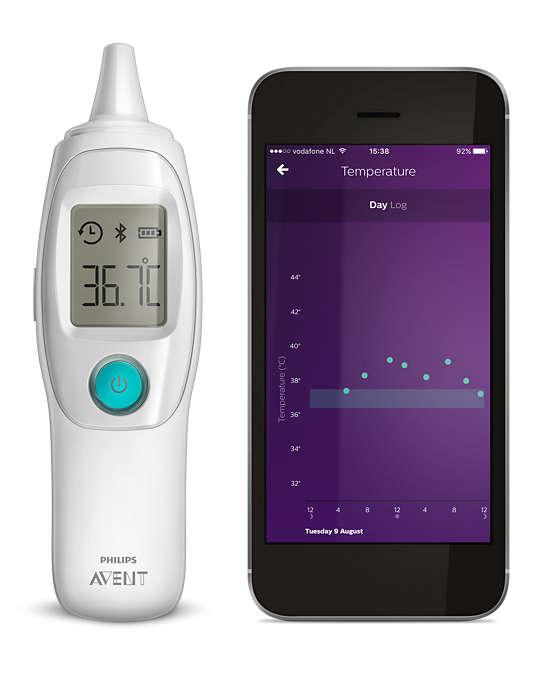 Måler og lagrer barnets temperatur