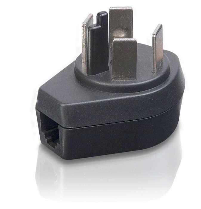Omdanner RJ11-telefonstik til et standardtelefonstik