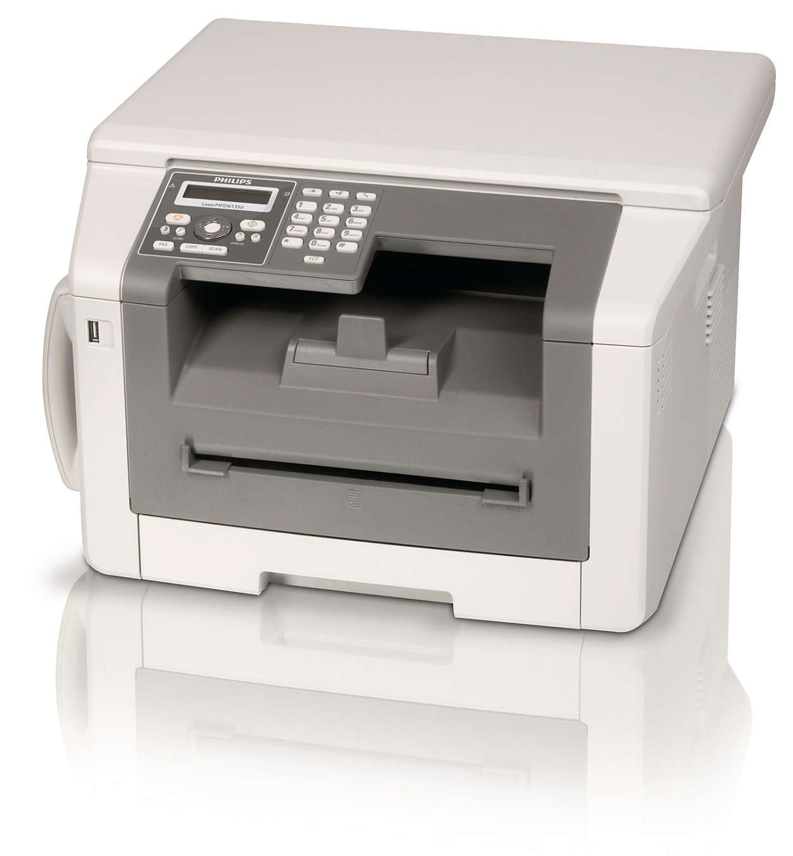 Brug fax, telefon, kopiering og udskrivning med duplekslaserkraft
