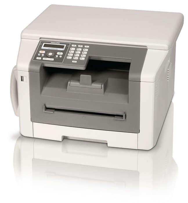 Faks, telefon, kopi og utskrift med laser og dobbeltsidig