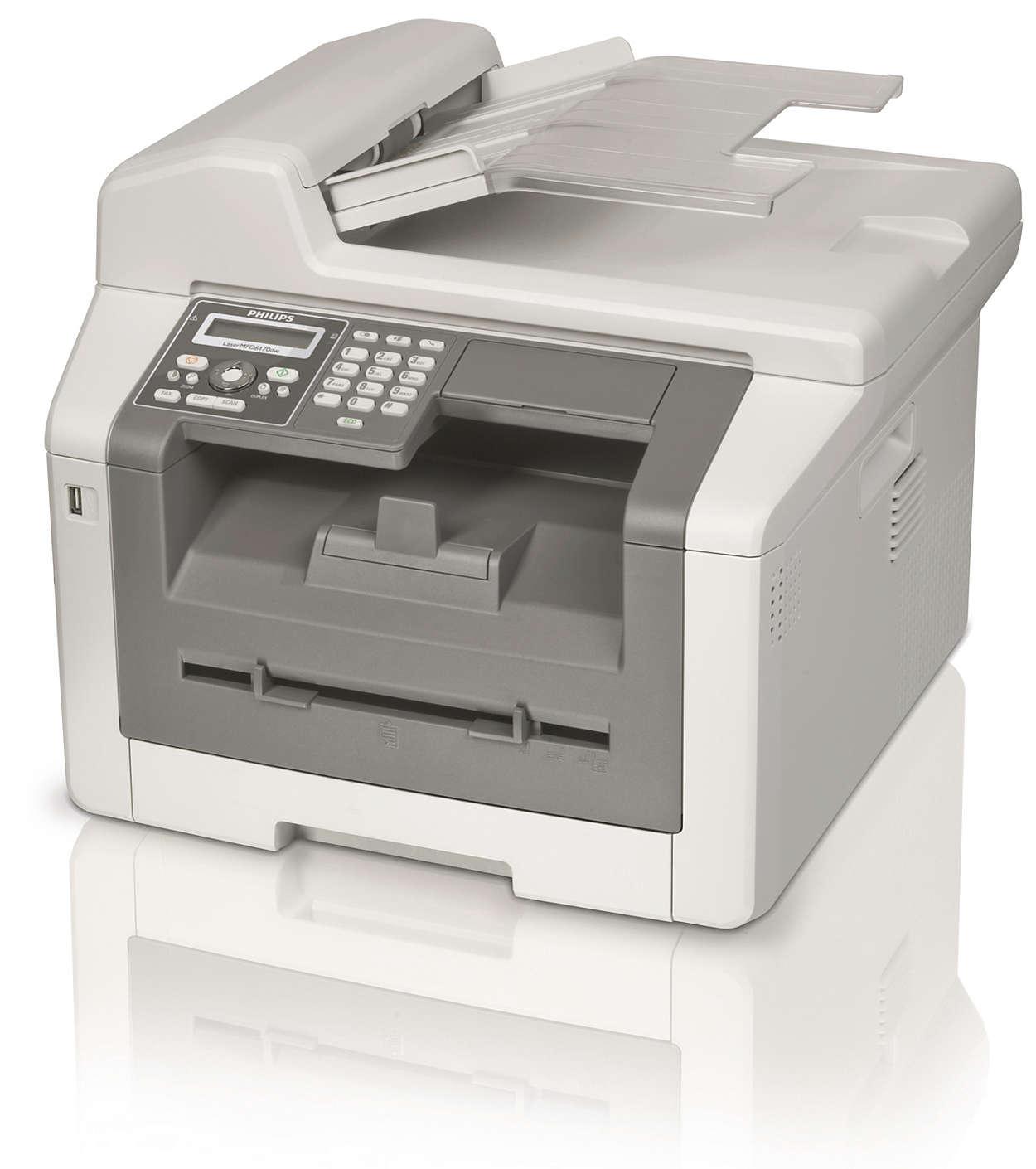 Faks, WLAN, kopi og utskrift med laser og dobbeltsidig