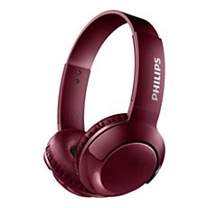 SHB3075RD/00 BASS+ Kabellose On-Ear-Kopfhörer mit Mikrofon