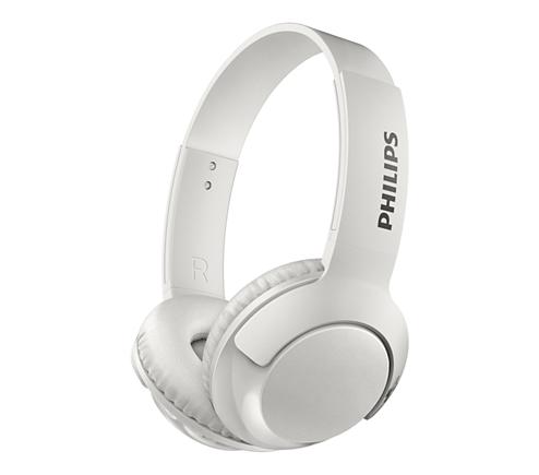 4fbbbf61f07 BASS+ Trådløse on-ear-hovedtelefoner med mikrofon SHB3075WT ...