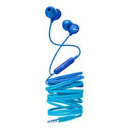 UpBeat Fones de ouvido intra-auriculares com microfone
