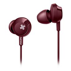 SHE4305RD/00 -   BASS+ Hörlurar med mikrofon