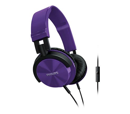 cfef54fa326 Philips Headphones with mic SHL3005PP DJ monitor style Purple