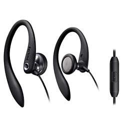 Hodetelefoner med ørekrok og mikrofon