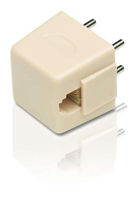 Converts 4-prong jack into a modular jack