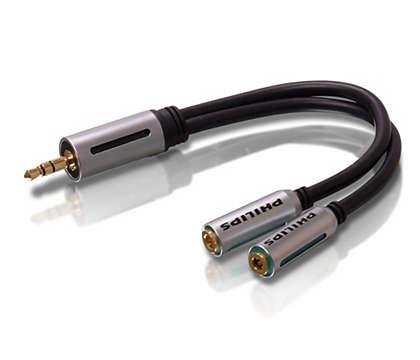 Divise une prise d'écouteur de 3,5mm en deux.