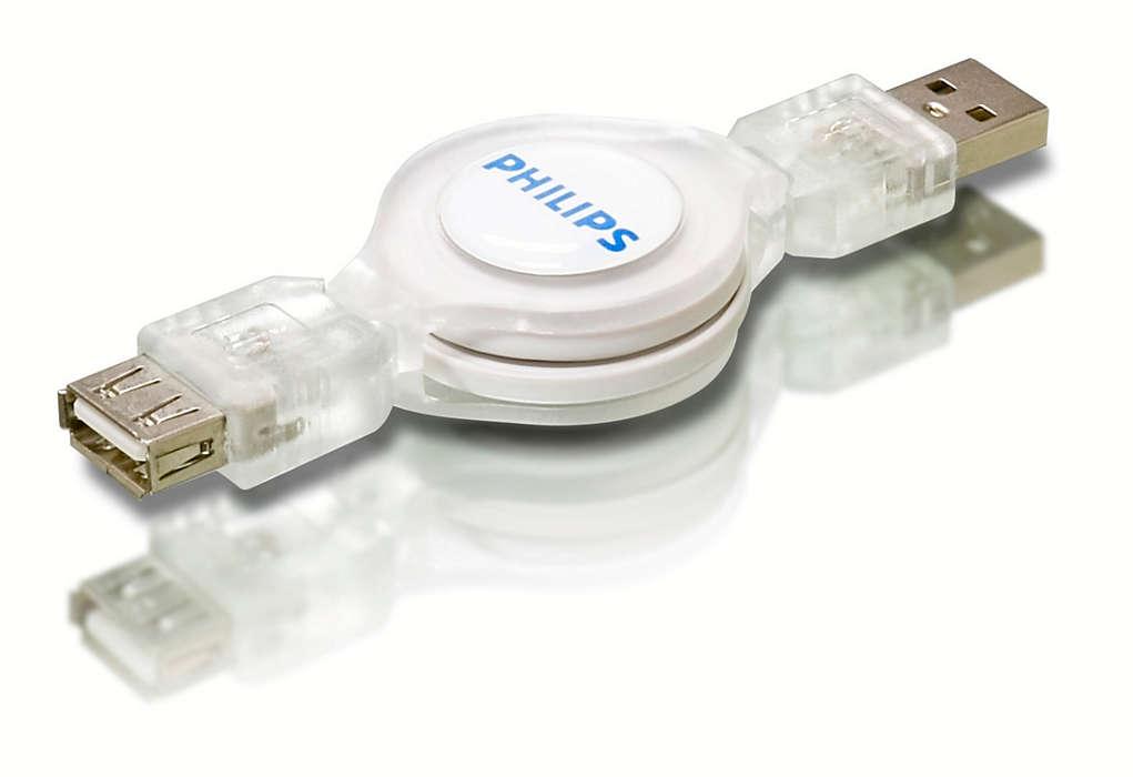 Aumente o comprimento do cabo USB