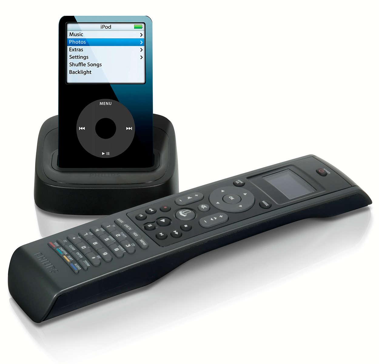 Få vist iPod på fjernbetjening