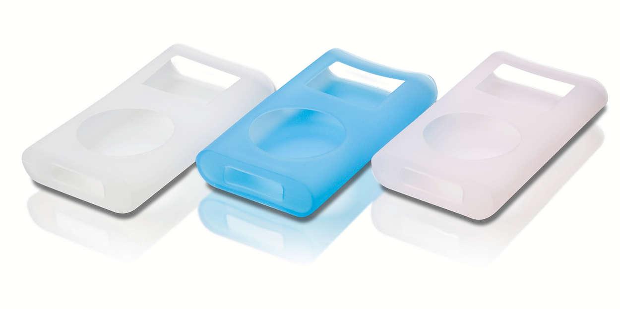 Beskytt og bær iPoden i tre stilige farger