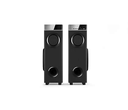 Multimedia tower speakers with microphone
