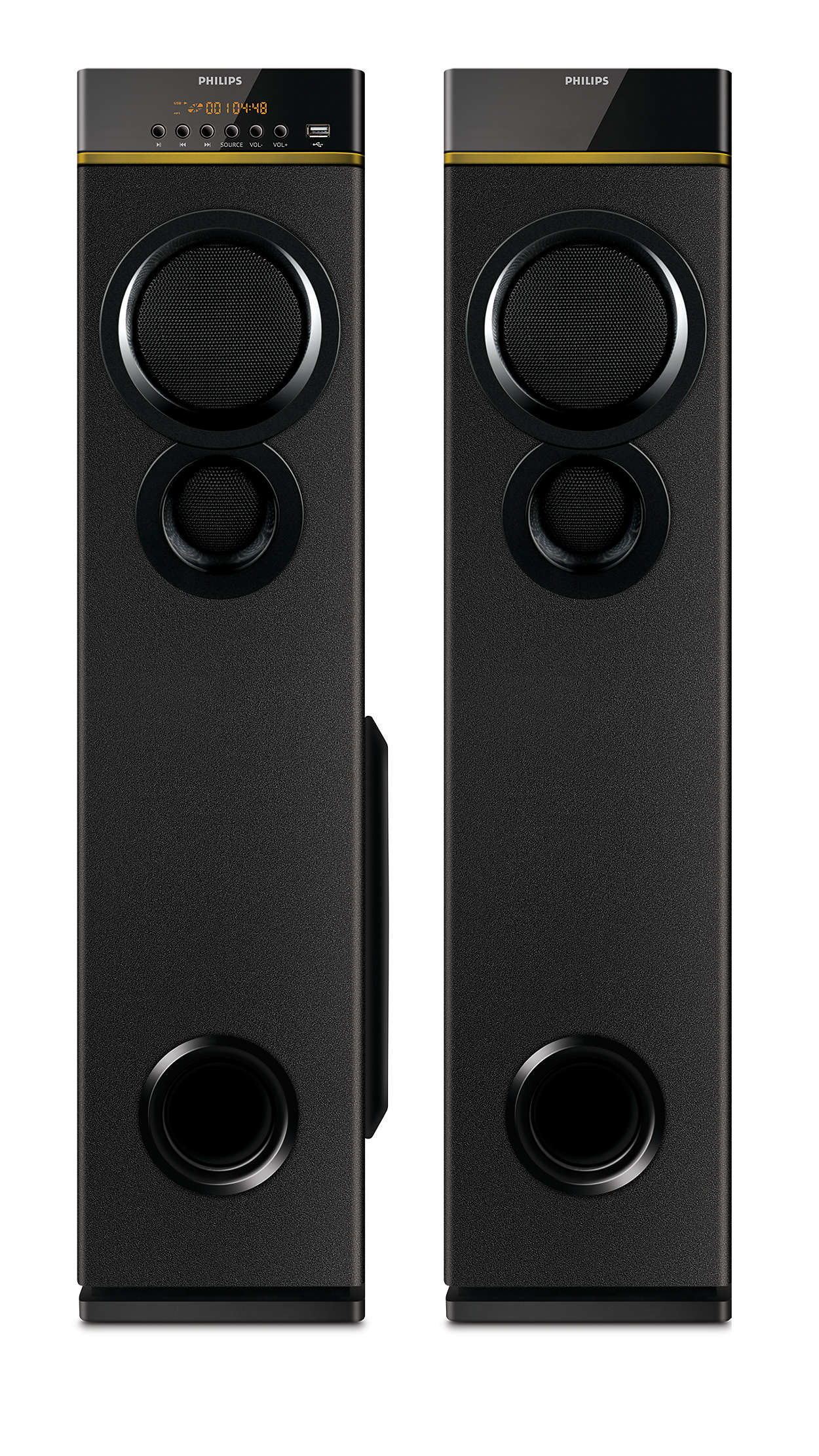 Multimedia tower speakers with wireless microphone