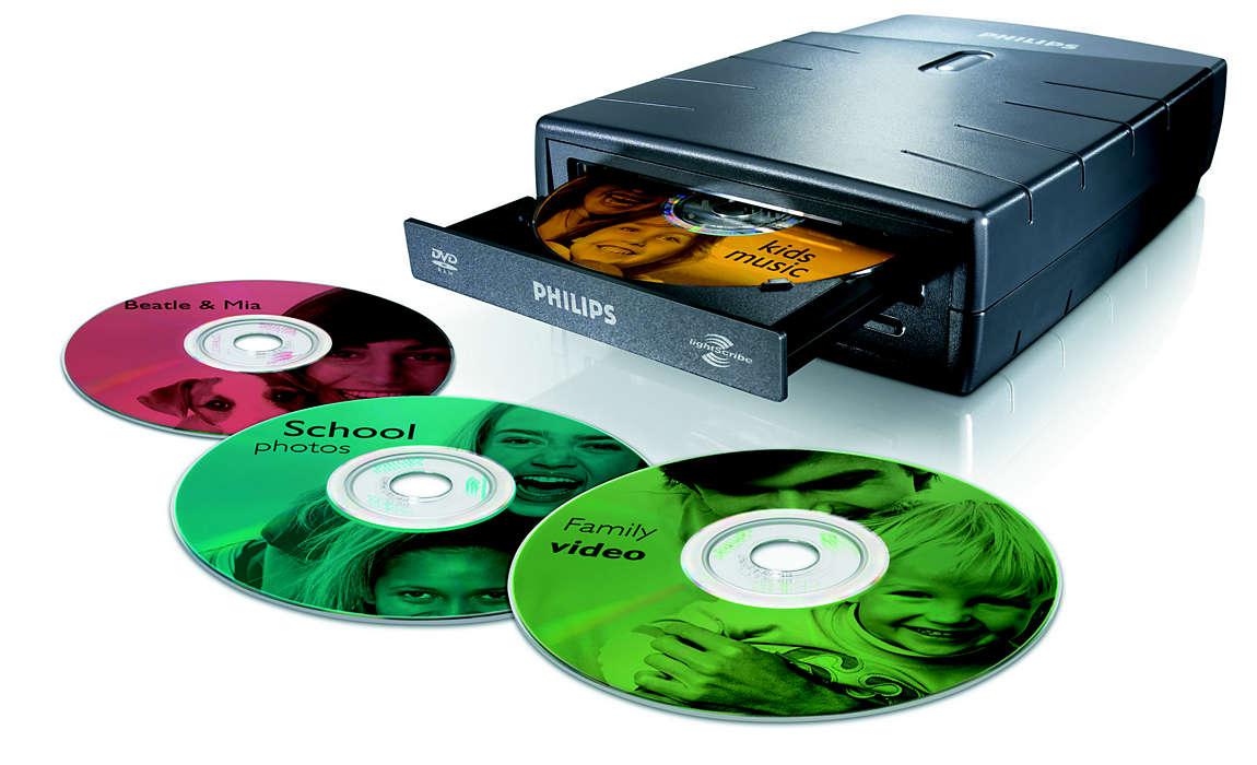 Skriv og lag etiketter på DVDene