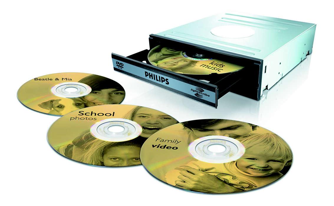 Skriv og lag etikett til DVDene med én enhet
