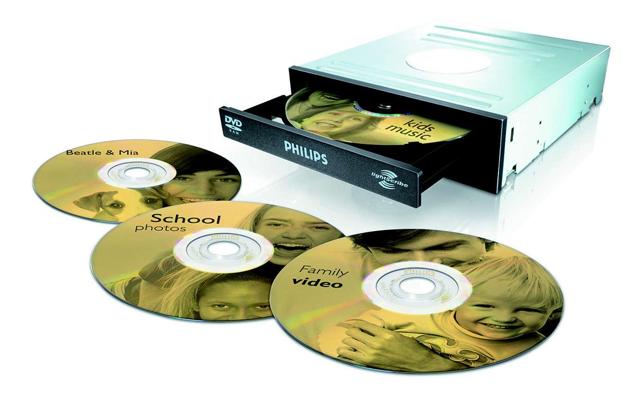 Grave e identifique os seus DVDs com uma única unidade