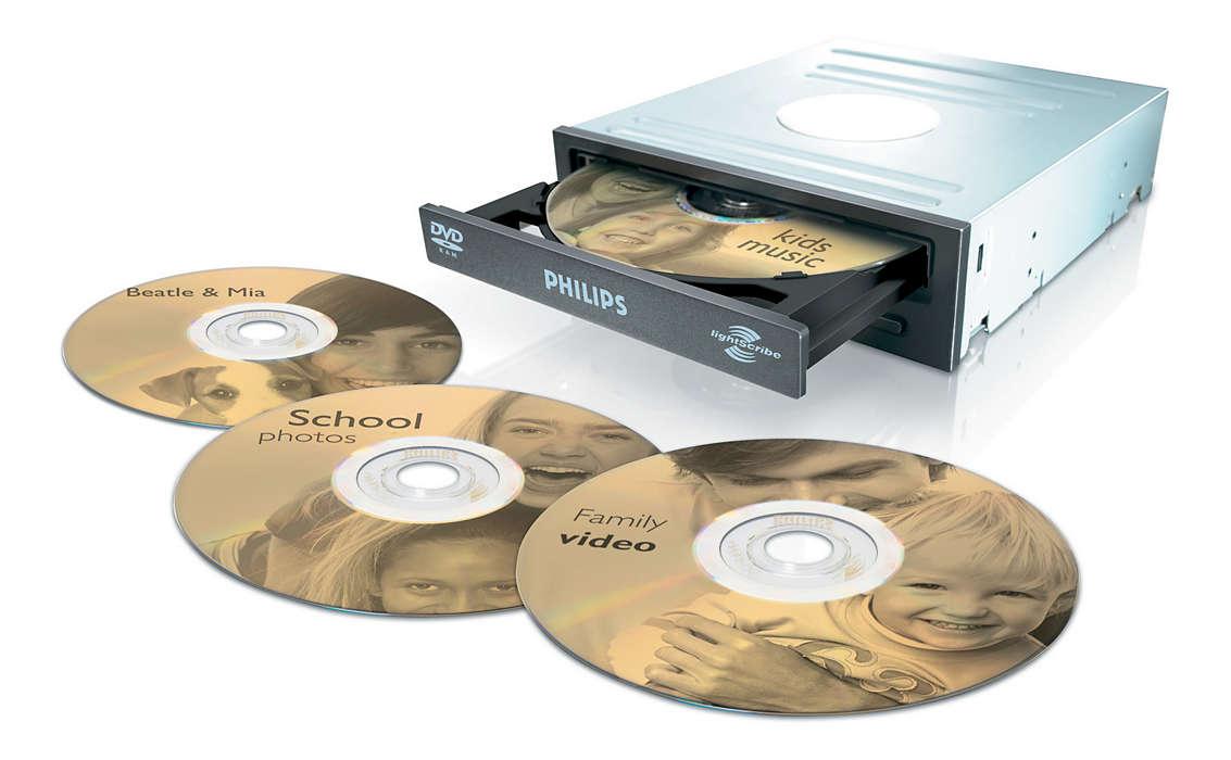 Skriv og merk DVDene med én enhet