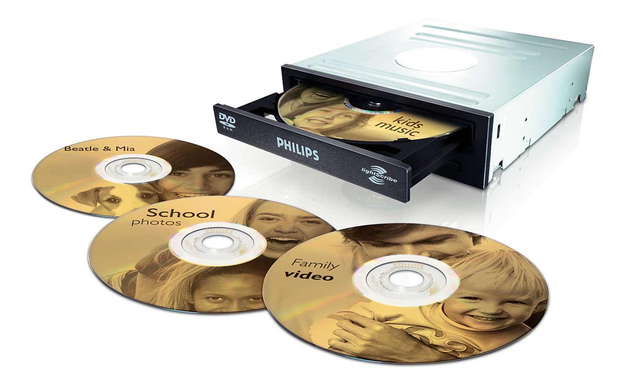 Bränn och skriv etiketter på dina DVD-skivor med en enhet