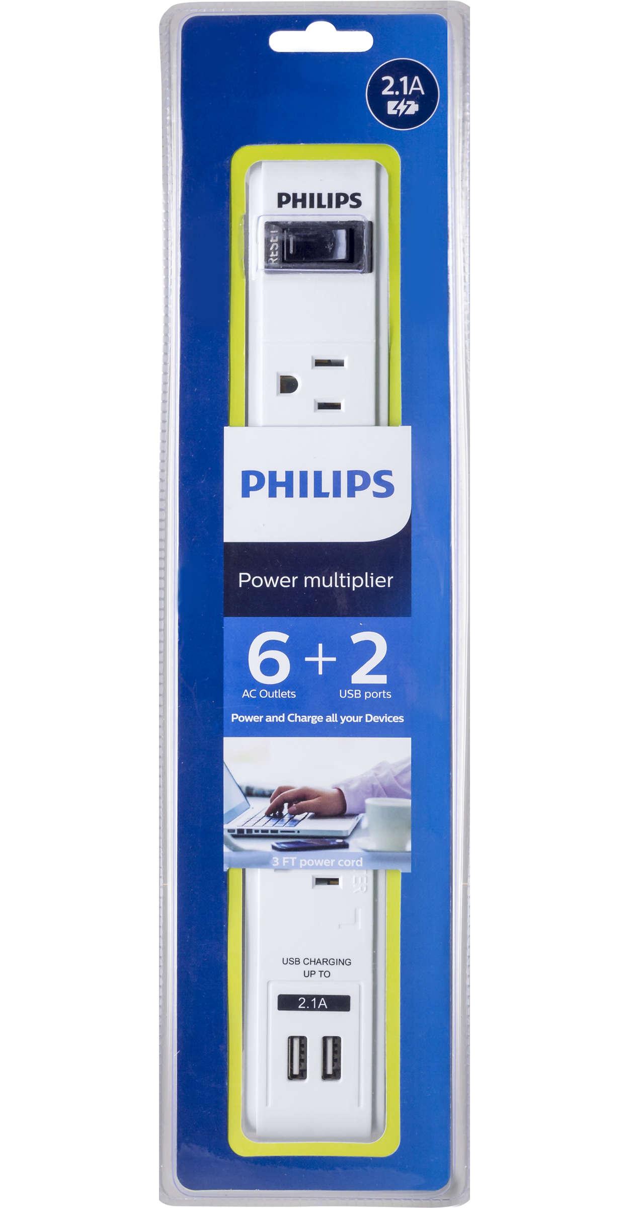 Comporte six prises secteur et deux ports USB