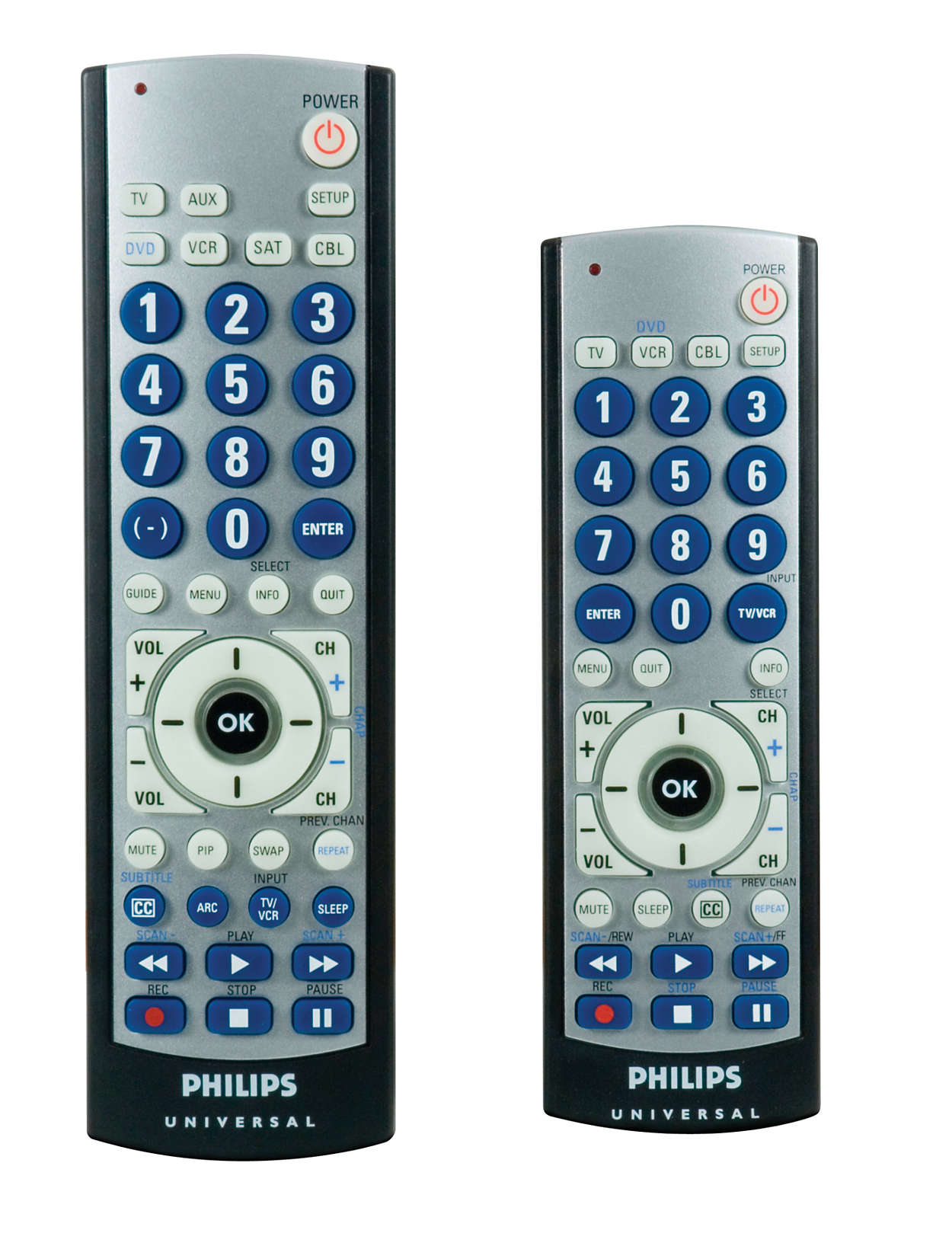Twin pack remotes, big button