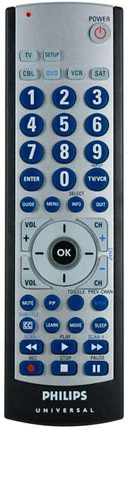 Télécommande universelle 5appareils, fonction d'apprentissage