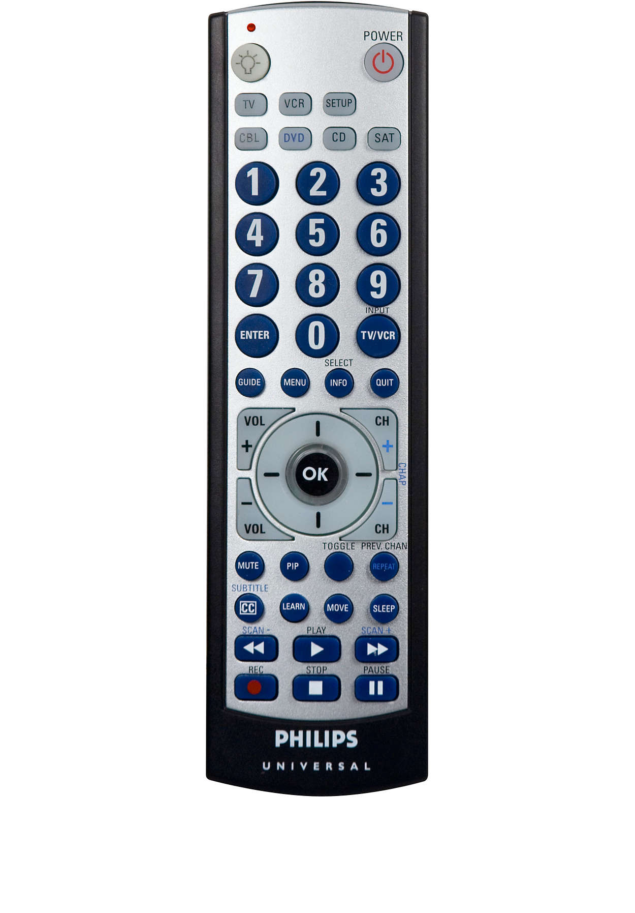 6 device big button learning remote