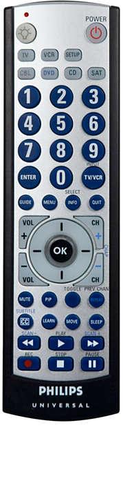 Control remoto con botones grandes para 6 dispositivos