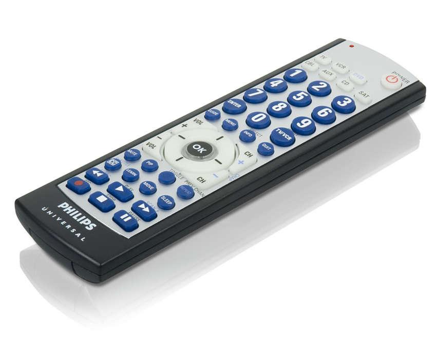 Télécommande programmable pour 7appareils à grosses touches