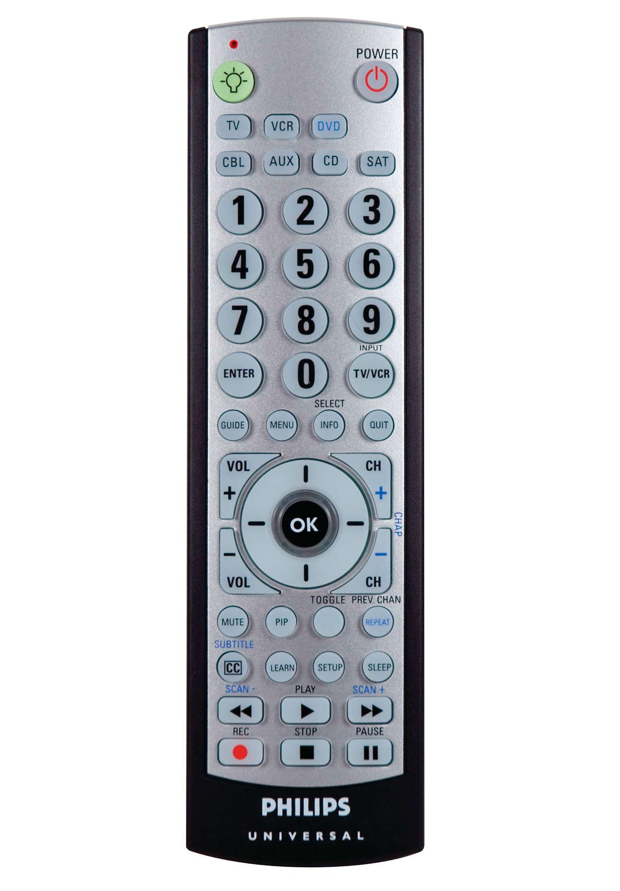 Télécommande pour 7appareils avec rétroéclairage intégral