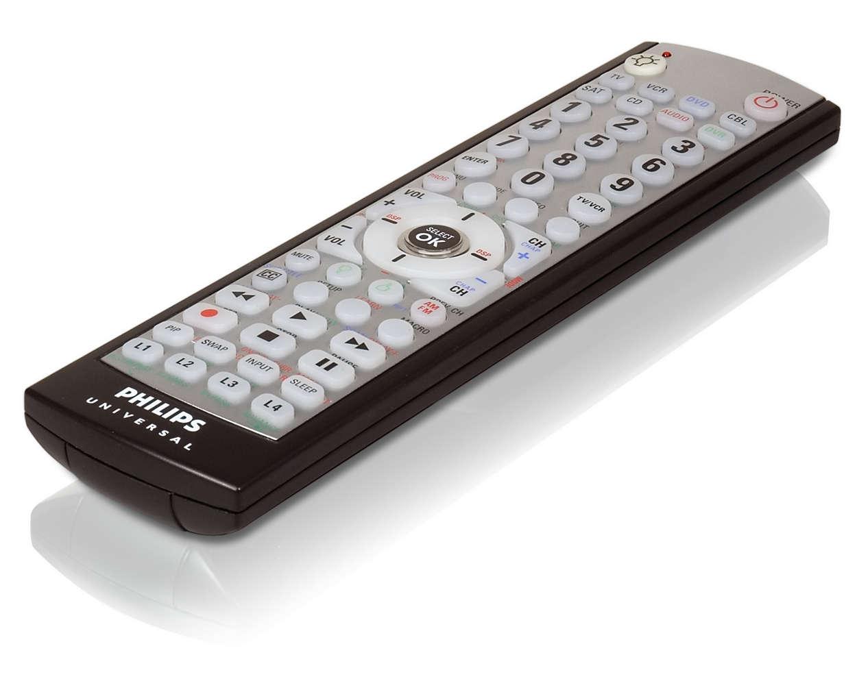 Control remoto para 8 dispositivos con luz en la parte posterior.
