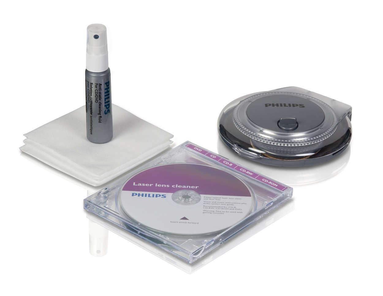Kit de limpeza para discos e aparelhos de CD/DVD