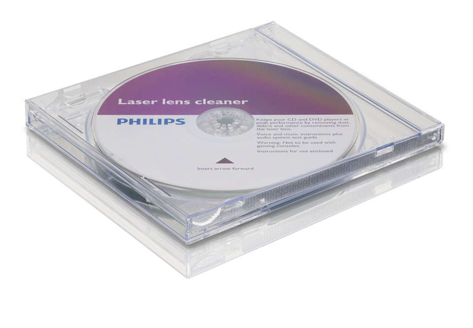 Очищает и защищает проигрыватель CD/DVD