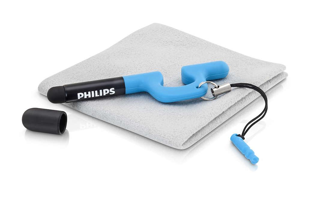 Lápiz óptico, soporte y paño de limpieza