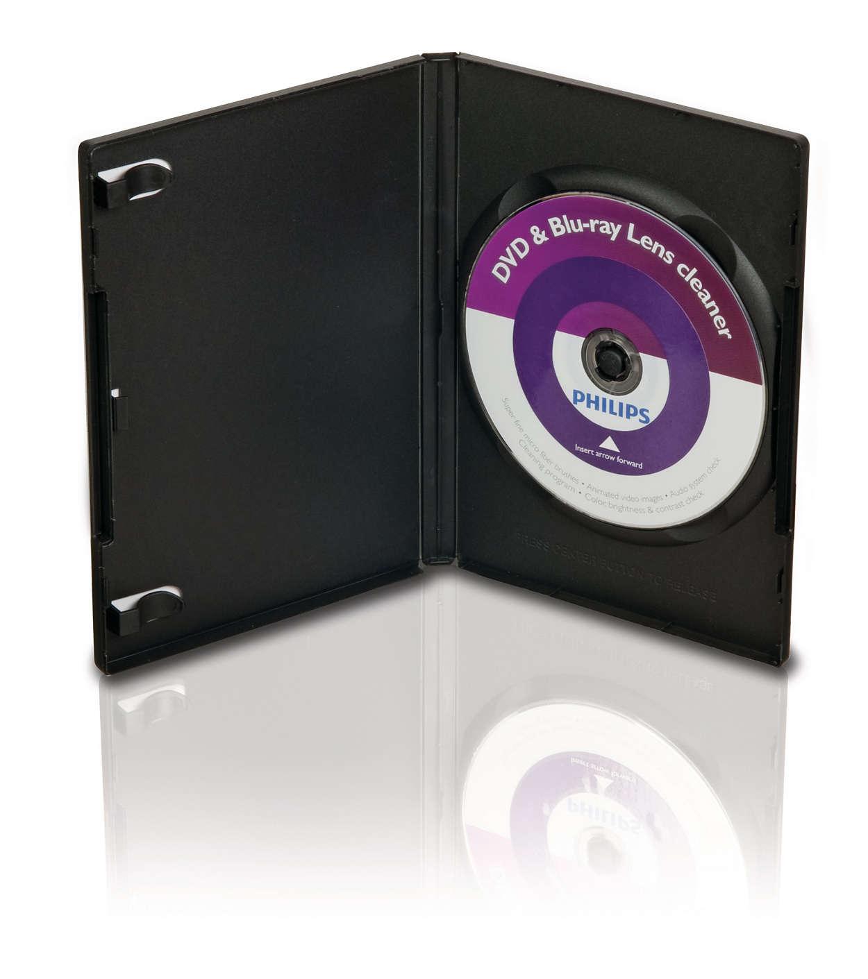 Reinigt en beschermt DVD- en Blu ray-spelers