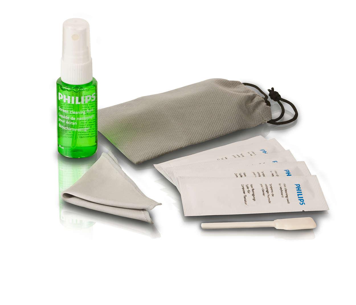Bezpečně vyčistí obrazovky laptopů nebo mobilních zařízení