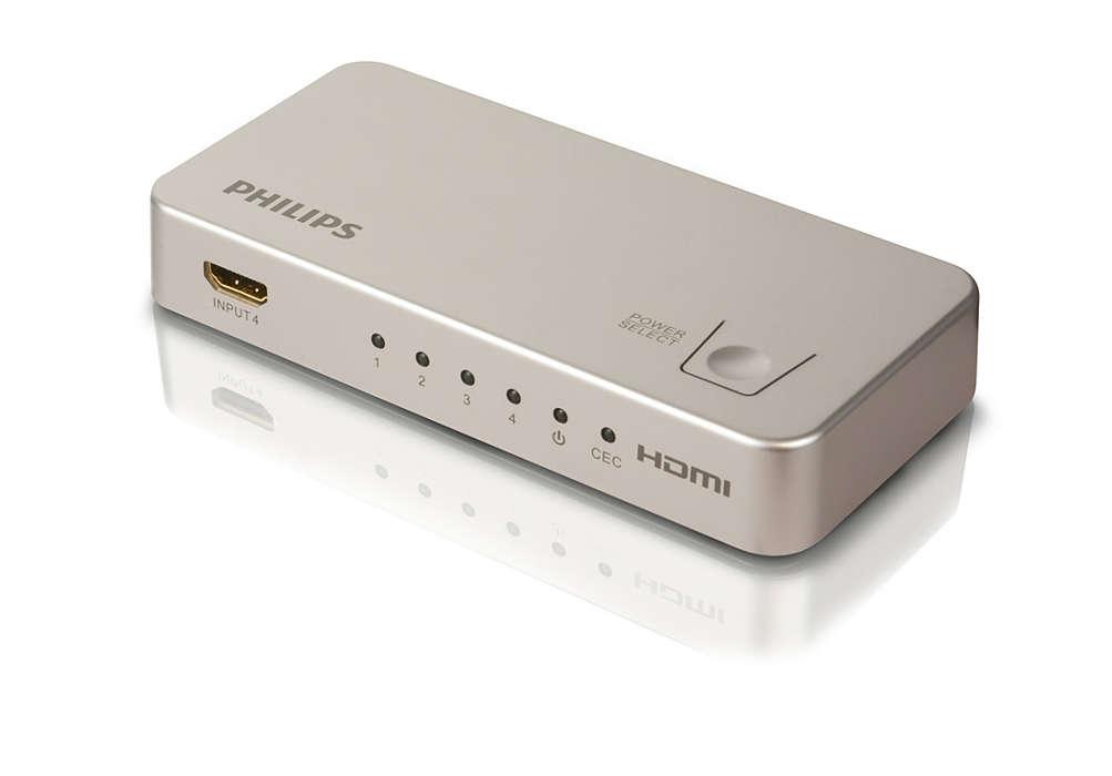Cambia automáticamente entre 4 fuentes HDMI
