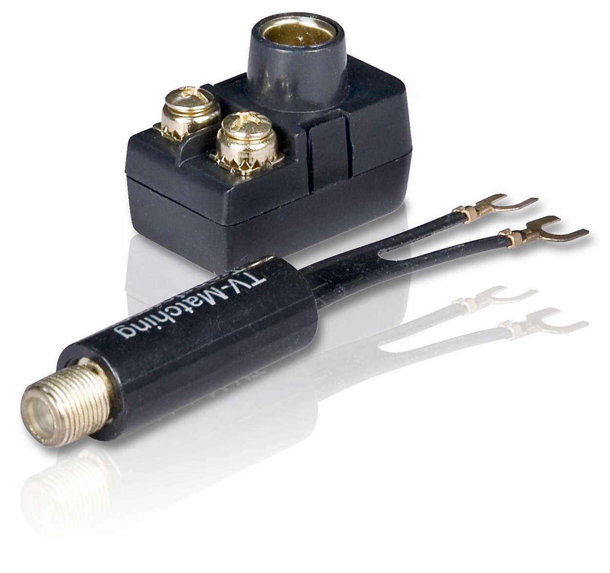 Transforma una conexión de 7s ohm en una de 300 ohm