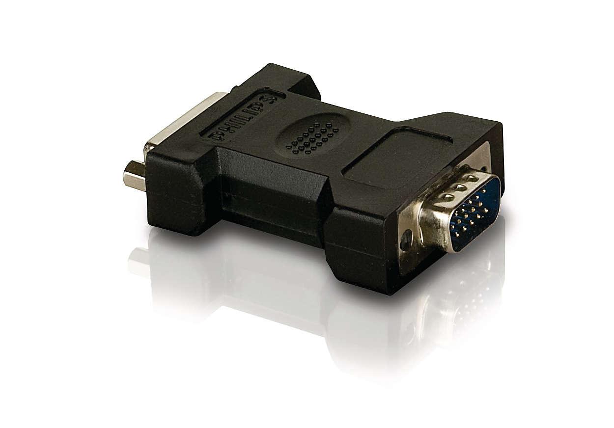 Подключение кабеля DVI к устройствам со входом VGA