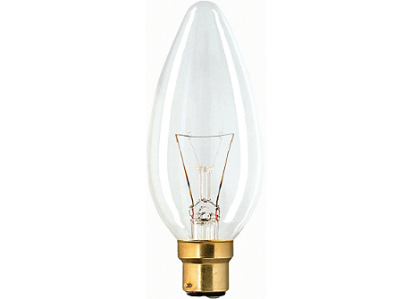 230V 25W CANDLE BC CLEAR