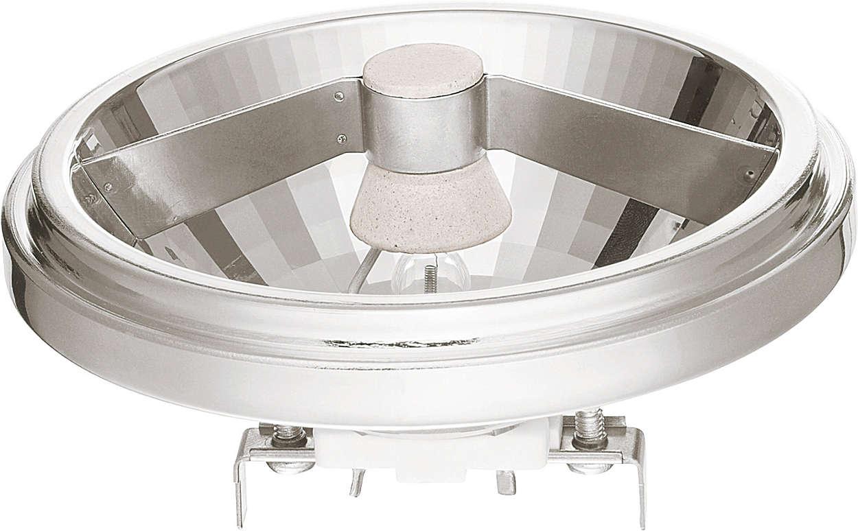 Vivida luce bianca spot emanata da un riflettore in alluminio dall'aspetto moderno