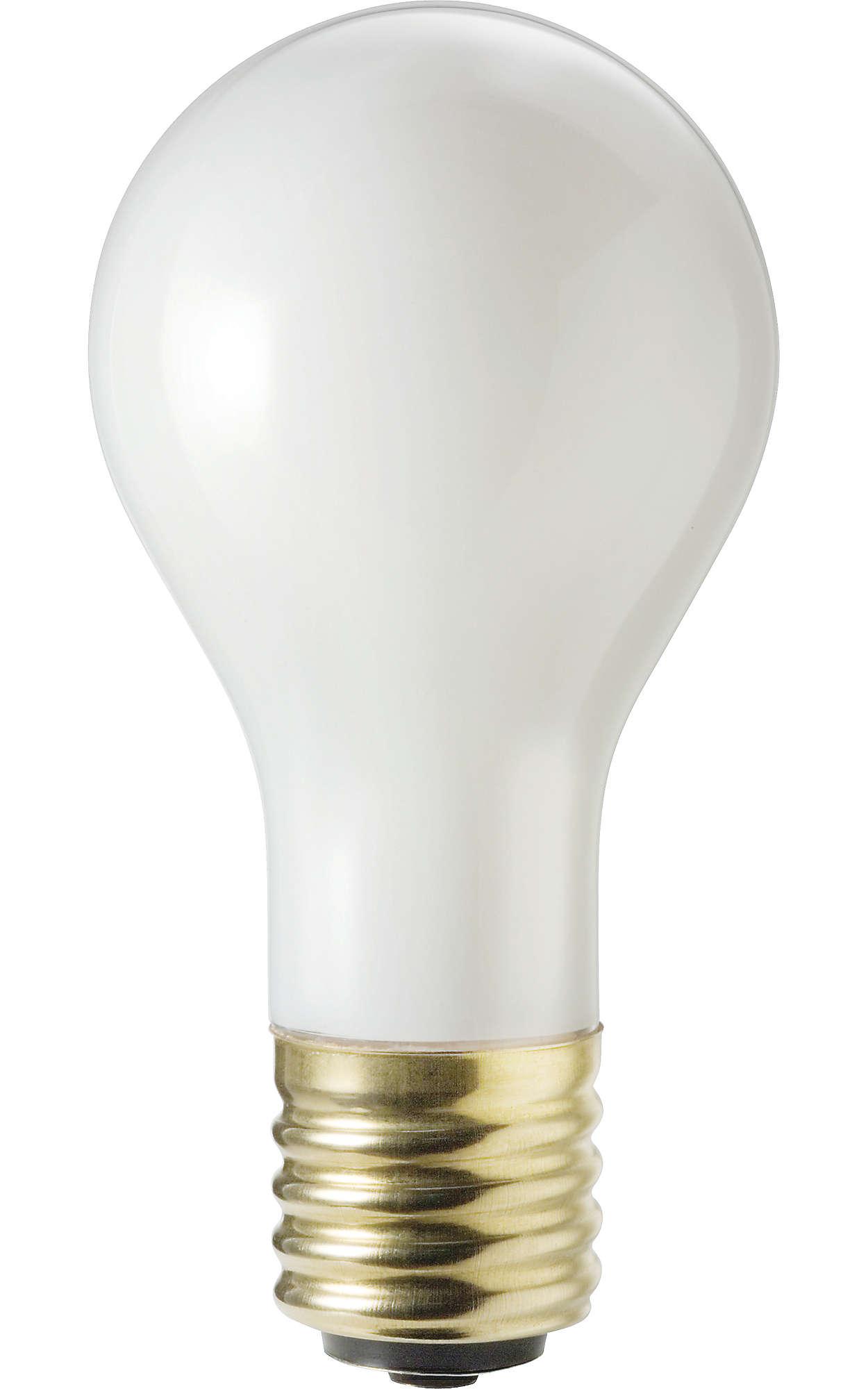 Ampoules incandescentes blanches et douces standard à trois intensités.