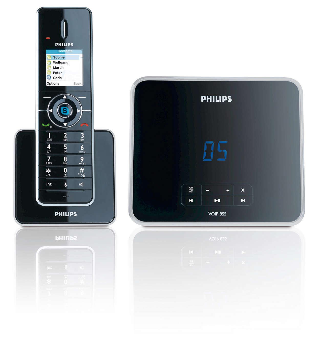 Chamadas fáceis para Skype™ e telefones fixos